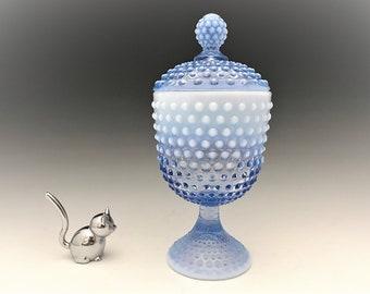 Duncan Miller Opalescent Blue Hobnail Covered Candy Jar