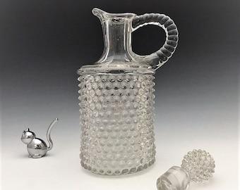 EAPG Hobnail Decanter - Dew Drop Pattern - Model Flint Glass Company - Early American Pattern Glass - 1890's