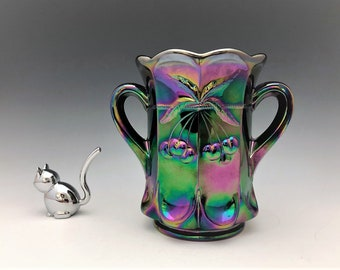 Mosser Amethyst Carnival Glass Handled Celery Vase - Cherry Thumbprint - Cherry and Cable