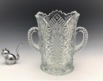EAPG Celery Vase - Bryce Higbee and Company - Madora Pattern - AKA Arrowhead in Oval - Early American Pattern Glass - c. 1907