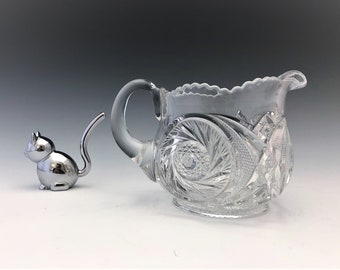 EAPG Creamer - McKee and Brothers - National Glass Co. - Aztec Pattern - Early American Pattern Glass - c. 1903
