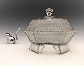 EAPG Covered Butter Dish - King and Son Glass Company - London Pattern - AKA Picket Fence - Early American Pattern Glass - Circa 1880's