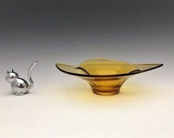 Viking Glass Amber Art Glass Divided Bowl - Mid Century Nut Bowl