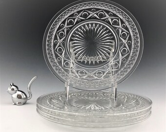 Imperial Glass Cape Cod - 8 Inch Salad Plates - Set of 4 - Elegant Glass of the Depression Era