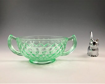 Imperial Glass #414 Diamond Quilted Pattern - Cream Soup Bowl - Uranium Glass Bowl - 2 Handled Bowl - Hard to Find