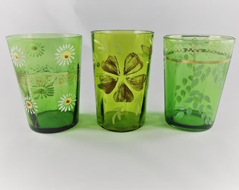 Collection of 3 Vintage Green Tumblers - Painted Flowers Variety Pack