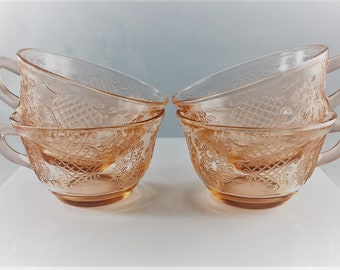 Set of Four Vintage Federal Glass Company Normandie Pattern Pink Depression Glass Cups
