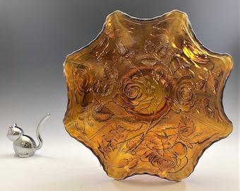 Imperial Glass Open Rose Pattern - Vintage Amber Carnival Glass Crimped Bowl - Lustre Rose