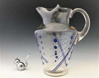 MacBeth Evans Vintage Pitcher With Ice Lip and Blue Graphics - Beverage Set No. 10926-110 - Late Depression Era Glass