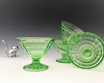 Hocking Glass Block Optic Pattern - Set of 4 Uranium Glass Sherbets - Green Depression Glass - Glowing Glass - 1929-33