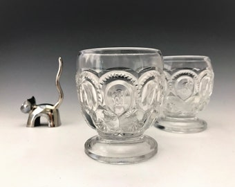 L.E. Smith Moon and Star Juice Glasses - Set of 2 Hard to Find Glasses