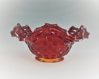 Vintage Fenton Basketweave With Open Edge Ruby (Line #1092) Ruffled Bowl - Ruffled Hat