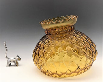 Vintage Amber Glass Diamond Quilted Hurricane Lamp Shade