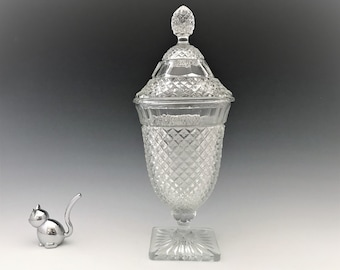 Anchor Hocking Miss American Covered Candy Jar - Depression Glass