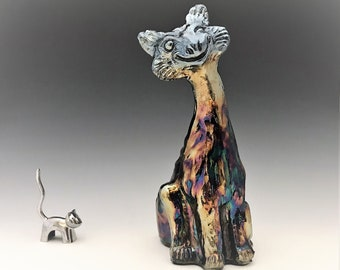 Fenton Alley Cat - Amethyst Carnival Glass - Iridescent Glass Cat Figurine