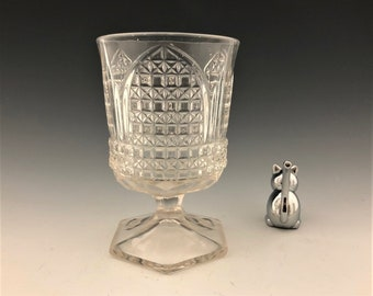 EAPG Sugar Bowl - Bryce Brothers - Orion Pattern (OMN) - AKA Cathedral - Early American Pattern Glass - Circa 1884