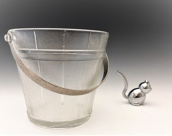 Pressed Glass Pail Ice Bucket With Hammered Metal Handle
