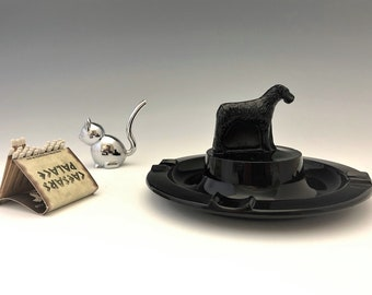 Art Deco Greensburg Glass Works Ebony Wire-Haired Fox Terrier Dog Ashtray - 1920s-1930s Design