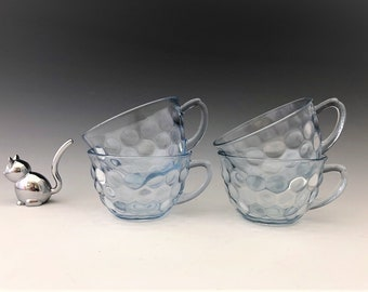 Anchor Hocking Bubble Blue Cups - Set of 4 - 1942-48