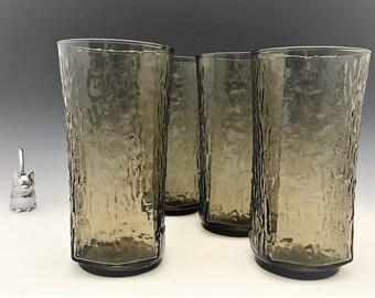 Set of 4 Smoky Brown Large Tumblers - 24 Ounce Glasses - Pagoda/Tree Bark/Bamboo Pattern
