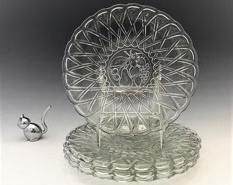 Indiana Glass #622 Pretzel Pattern - 8 1/2 Inch Salad Plates - Set of 4 - Fruit Intaglio Center