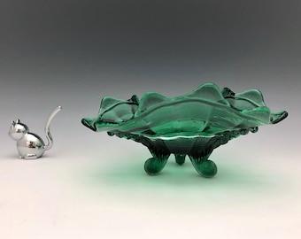 Northwood Klondyke Pattern - Card Receiver - Teal Green - Three Toed Bowl - Bonbon Dish - Early American Pattern Glass - Victorian Era Glass