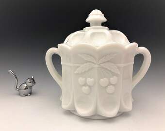 Westmoreland Milk Glass Cookie Jar - Cherry Pattern - Cherry Thumbprint - Cherry and Cable
