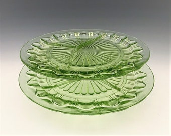 Hocking Glass - Set of Two Grill Plates - Colonial Pattern - Knife and Fork Pattern - Uranium Glass Divided Plates - Green Depression Glass