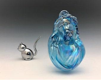 Iridescent Blue Glass Jesus Wall Hanging - Carnival Glass