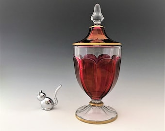 Westmoreland #1700 Candy Jar With Red Stain - Depression Era Elegant Glass Covered Candy