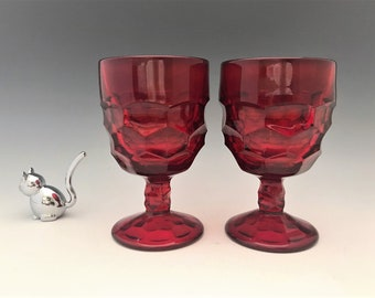 Viking Ruby Red Georgian Goblets - Set of 2 Water Glasses - Honeycomb Pattern