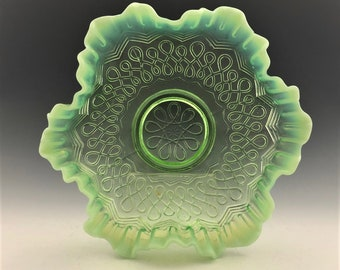 EAPG Crimped Bowl - Jefferson Glass Company No. 247 (OMN) - AKA Many Loops - Early American Pattern Glass - Circa 1907