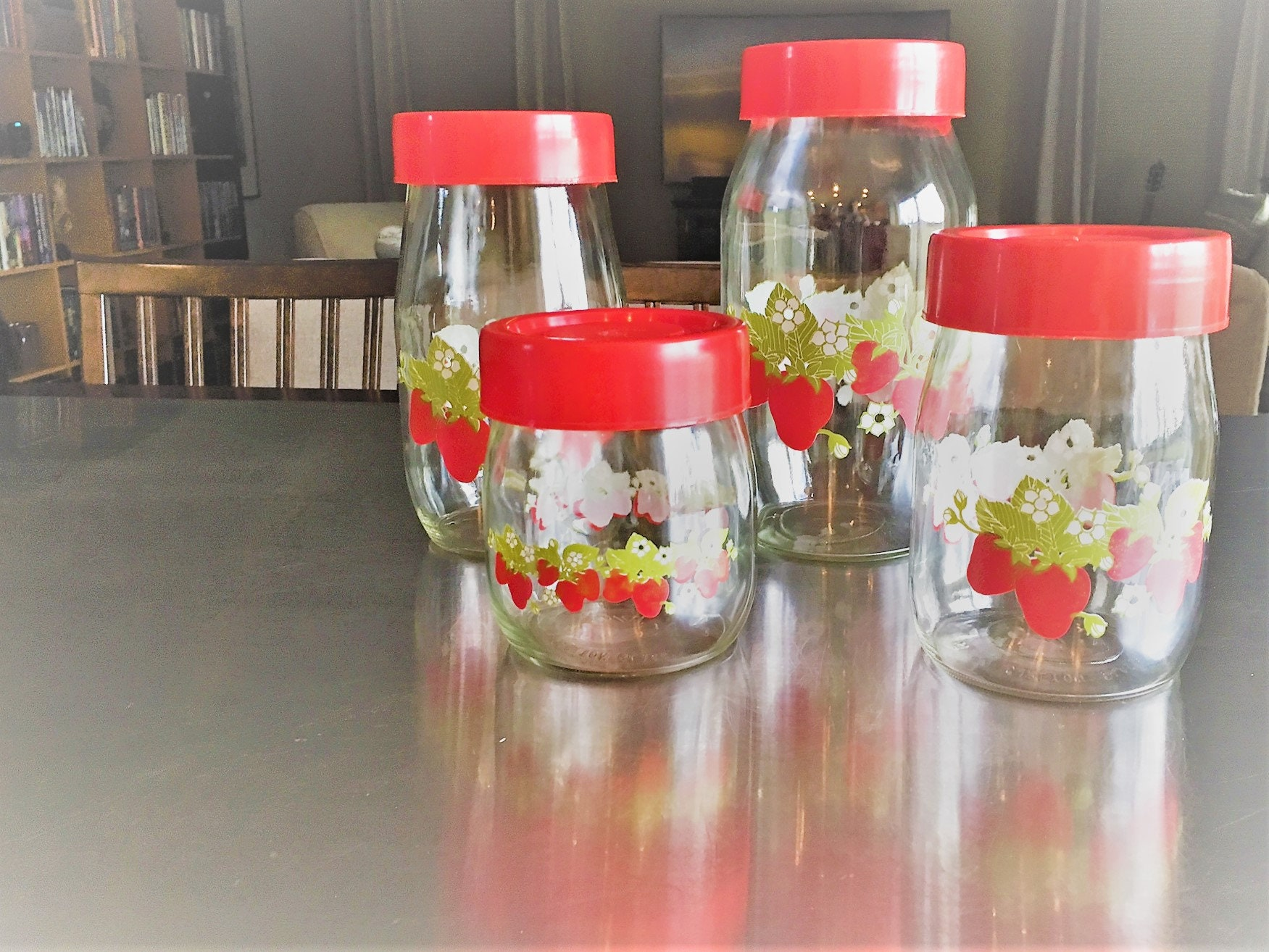 Set Of Four Vintage Storage Jars   Carlton Glass   Strawberry Motif   Red  Lids   Kitchen Canisters   Kitchen Storage