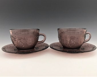 Set of 2 Indiana Glass Early American Sandwich Pattern Cups and Saucers - Plum Amethyst - Tiara Exclusives