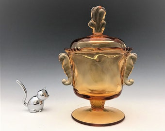 Heisey #1519 Waverly Covered Candy Dish - Honey Amber - Signed - Hard to Find Color - Seahorse Handles