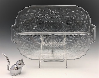 Indiana Glass Pineapple and Floral Pattern (#618) Divided Relish Platter - Mid Century Entertaining