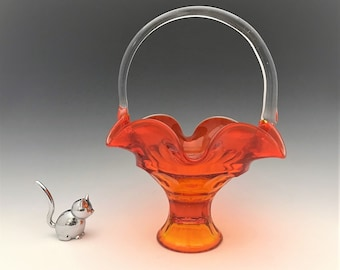 Viking Glass Georgian Pattern Basket in Persimmon - Mid Century Glass