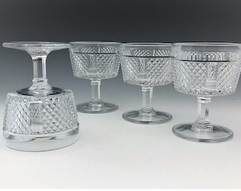 Fostoria Diamond Point Champagne Glasses - Stem 2860 - Set of 4 Tall Sherbets - Leaded Glass - Limited Edition Henry Ford Museum