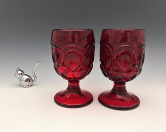 L.G. Wright Moon and Star Ruby Red Water Goblets - Set of Two