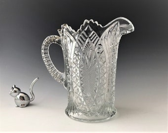 EAPG Pitcher - Bryce Higbee and Company - Madora Pattern - AKA Arrowhead in Oval - Early American Pattern Glass - c. 1907