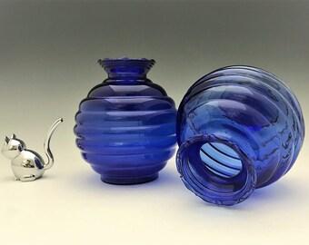 Set of Two Cobalt Blue Beehive Vases - Blue Ribbed Glass Vases
