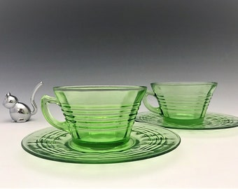 Hocking Glass Circle Pattern - Set of 2 Cups and Saucers - Green Depression Glass - Glowing Uranium Glass