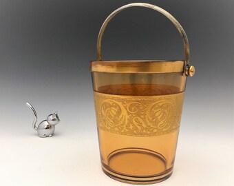 Fostoria Amber Ice Bucket - Elegant Glass With Golder Etch