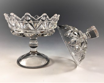 EAPG Jelly Compote - U.S. Glass #15006 (OMN) - AKA Pointed Jewel - Early American Pattern Glass - Circa 1892