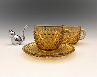 Amber EAPG Cups/Mugs - Columbia Glass Dew Drop Pattern (OMN) - AKA Hobnail Double Eye - Early American Pattern Glass - Circa 1888