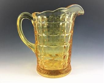 Indiana Glass Pitcher - Constellation Pattern - Line #300 - Yellow Mist - Vintage Water Pitcher