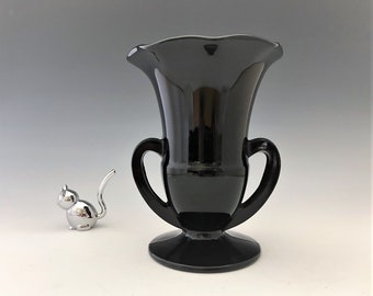 Vintage LE Smith No. 1900 Black Glass Two Handled Vase - Crimped Rim Vase