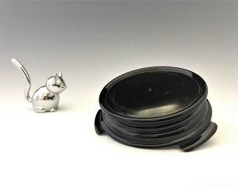 Black Glass Base - Depression Era Glass Accent Bowl Base - Black Vase Stand