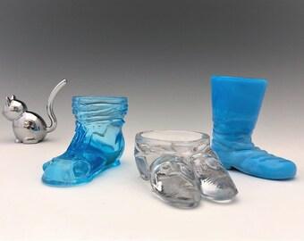 Set of 3 Vintage Glass Shoes - Boyd Glass - Degenhart - Glass Shoe Toothpick Holder - Match Holder - Salt Cellar