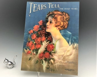 Vintage Piano Sheet Music - Rolf Armstrong Pin Up Artist - Roaring 20's Art - Art Deco Ads - Suitable for Framing - Tears Tell